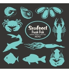 set animals on seafood vector image