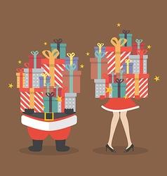 Santa claus and Santa woman holding a pile of gift vector image