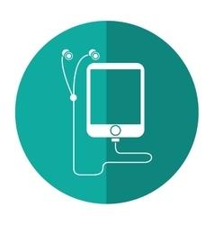mp3 device play music earphones shadow vector image