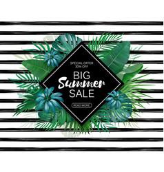 Summer sale advertising template tropic leaves vector