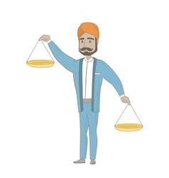 Hindu businessman holding balance scale vector