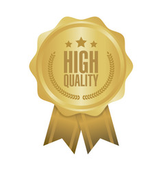High quality gold sign round label vector
