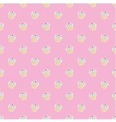 Seamless pink pattern or texture with cupcakes vector