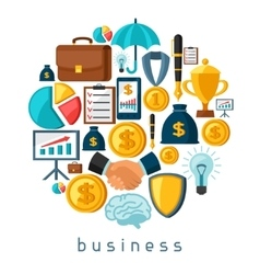 Business and finance concept from flat icons in vector