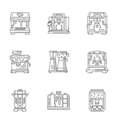 Coffee equipment linear icons set vector