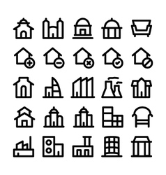 Buildings and furniture icons 3 vector