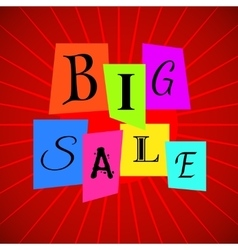 Big sale words from color paper over red vector
