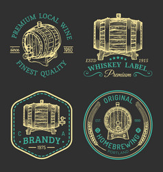 Alcohol logoswooden barrels set with drinks signs vector