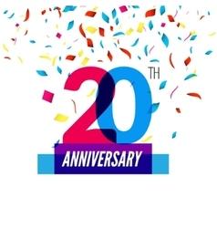 Anniversary design 20th icon anniversary vector image