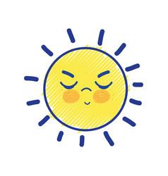 Beauty kawaii and angry sun design vector