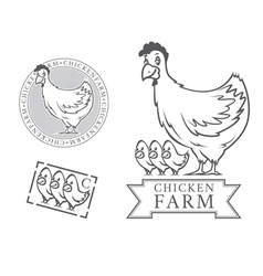 chicken farm emblems vector image