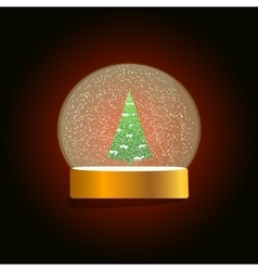 Christmas snow globe on a dark red background vector image