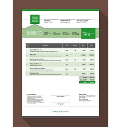 Customizable invoice form template design green vector