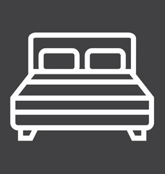 double bed line icon furniture and interior vector image vector image