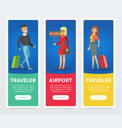 flat people in airport banners set vector image