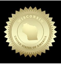 Gold star label wisconsin vector