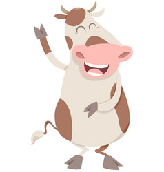 Happy spotted cow character vector