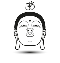 Head of buddha with om mantra vector