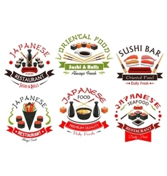 Japanese cuisine seafood signs emblems set vector