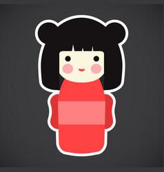 kokeshi doll flat icon vector image vector image