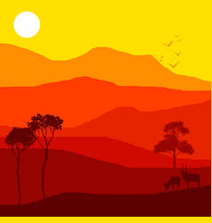 Landscape with antelopes vector