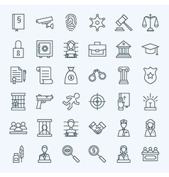 Line lawyer attorney and crime icons set vector