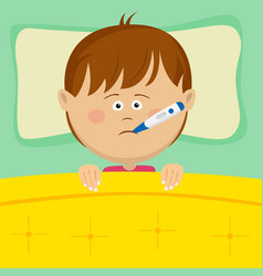 Little sick boy with thermometer lying in bed vector