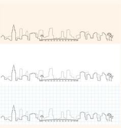 Miami hand drawn skyline vector