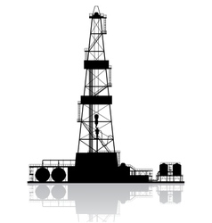 Oil rig silhouette Detailed isolated on white vector image