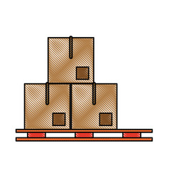 piled cardboard boxes on pallets icon image vector image