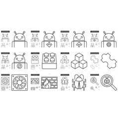 Programming line icon set vector image