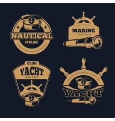 Retro nautical color labels on dark vector image vector image