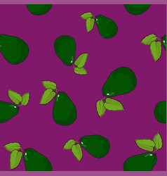 Seamless pattern avocado on lilac background vector