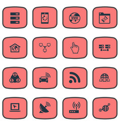 set of simple internet icons vector image vector image