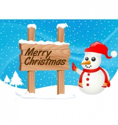 snowman and sign vector image vector image