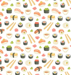 Sushi and rolls seamless pattern on white vector image