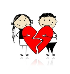 Valentine day Couple with two parts of big red vector image vector image