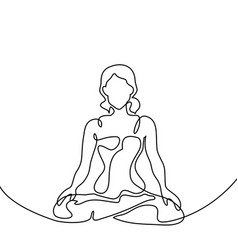Woman doing exercise yoga lotus pose vector