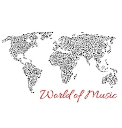 World map of muisc and musical notes vector