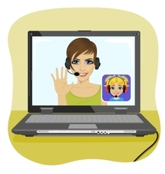 Young mom chatting with her daughter via internet vector