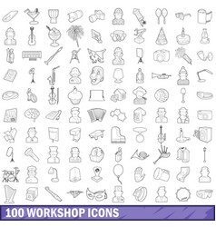 100 workshop icons set outline style vector