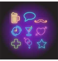 Neon symbols elements set vector
