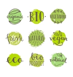 Set of bio vegan food badges vector image