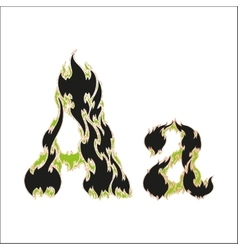 Fiery font black and green letter a on white vector