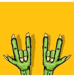 Zombie hand shows rock n roll gesture vector