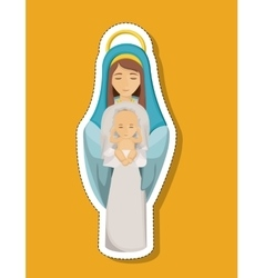 Mary cartoon and baby of holy night design vector