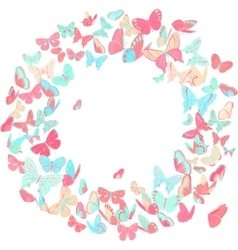 Butterfly frame wreath design element in pink and vector