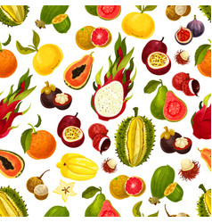 Exotic tropical fruits seamless pattern vector