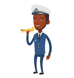 Cheerful airline pilot with model of airplane vector