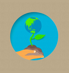 Earth day paper cut world nature concept vector